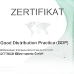 DEKRA-Zertifikat für Good Distribution Practice (GDP) / Straßentransporte